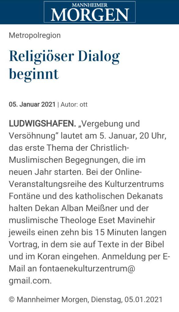 Mannheimer Morgen - religiöser Dialog beginnt fontaene kulturzentrum